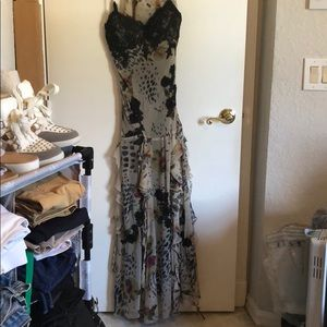 Sue Wong nocturne floral ruffle gown